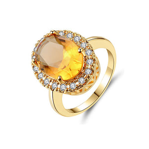 Oval Citrine Stone Cocktail Gold Ring - TSZjewelry