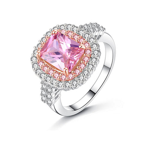 Radiant-cut Pink Gemstone Cocktail Ring - TSZjewelry