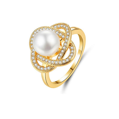Pearl Flower Gold Ring - TSZjewelry