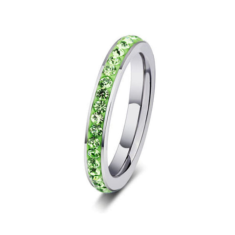 Stainless Steel Green Crystal Ring - TSZjewelry