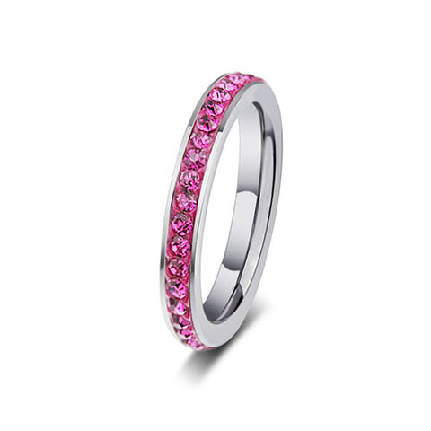 Stainless Steel Pink Crystal Ring - TSZjewelry
