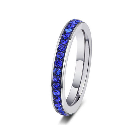 Stainless Steel Blue Crystal Ring - TSZjewelry