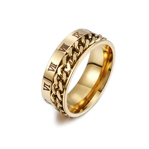 Gold Chain Roman Numeral Ring - TSZjewelry