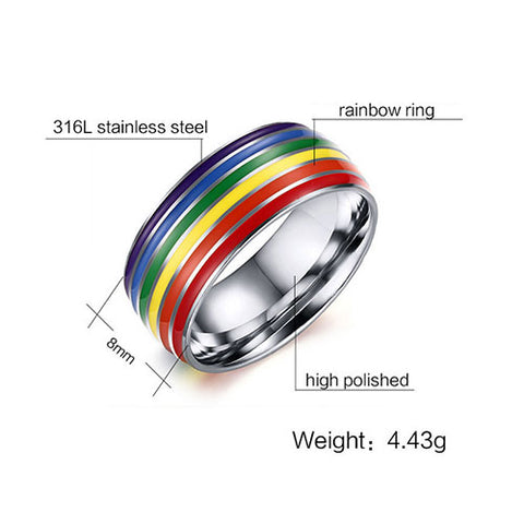 Enamel Rainbow Stainless Steel Ring - TSZjewelry