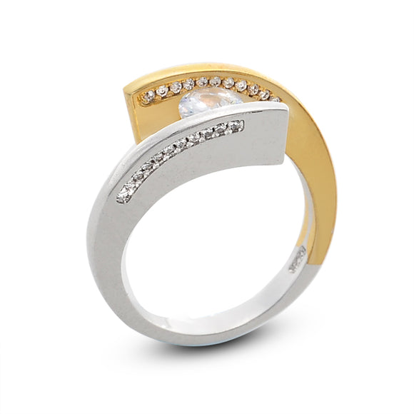 Two-tone Yellow/Silver Cubic Zirconia Geometry Ring