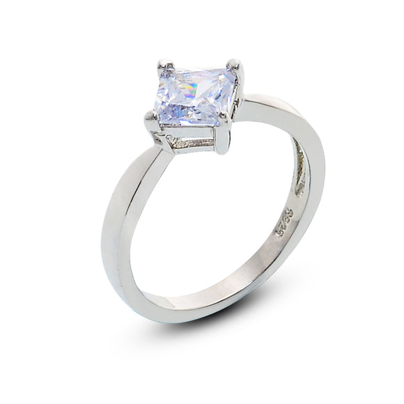 Silver Square Solitaire Cubic Zirconia Ring for Women