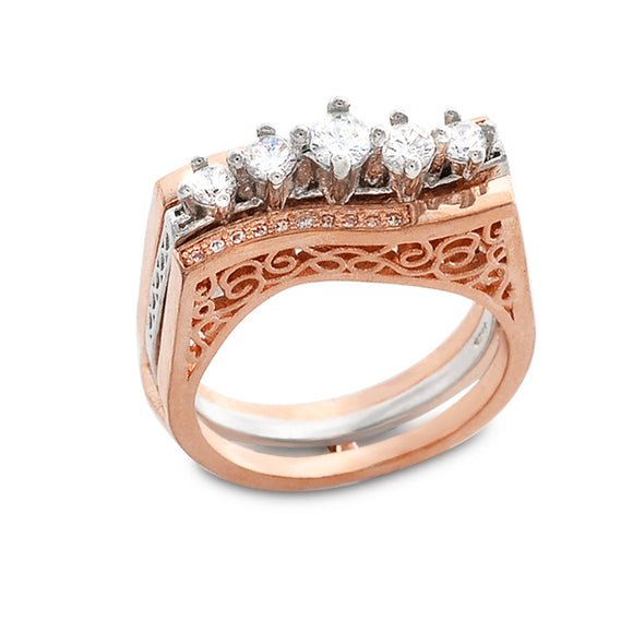 Rose Gold-Plated 2 Piece Set Combine Fancy Fashion Ring