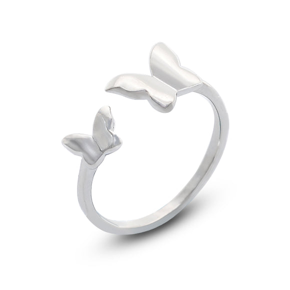Polished Silver Double Butterfly Open End Fashion Ring