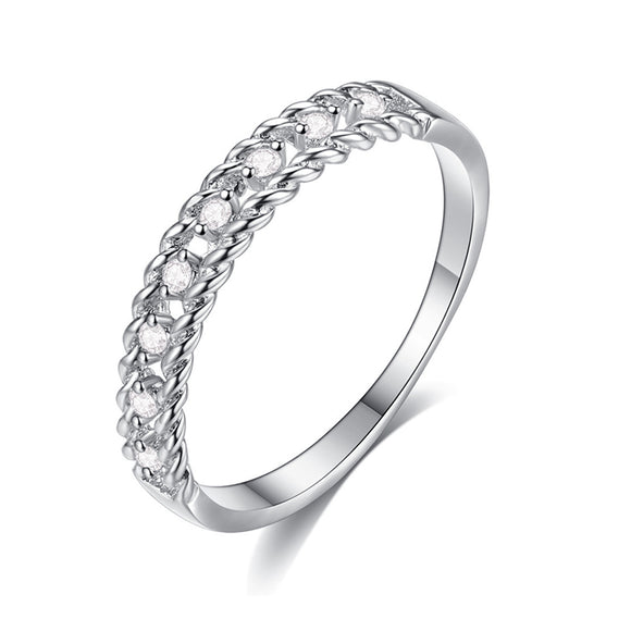 Silver Double Rope Cubic Zirconia Inlay Fashion Ring