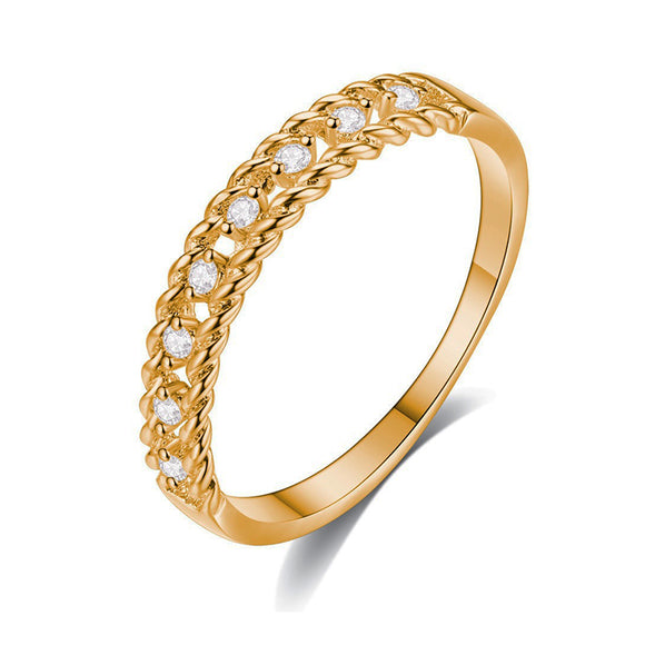 Yellow Gold Double Rope Cubic Zirconia Inlay Fashion Ring