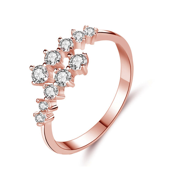 Rose Gold Two-Row Cubic Zirconia Stone Stack Fashion Rings
