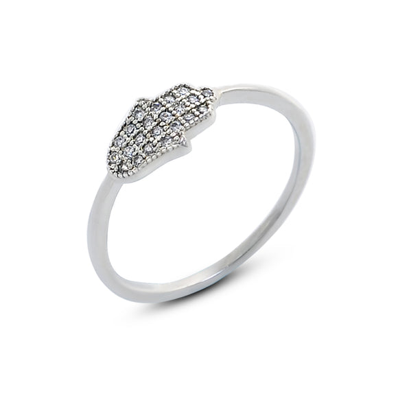 Tiny Hamsa Hand Cubic Zirconia Stone Fashion Ring