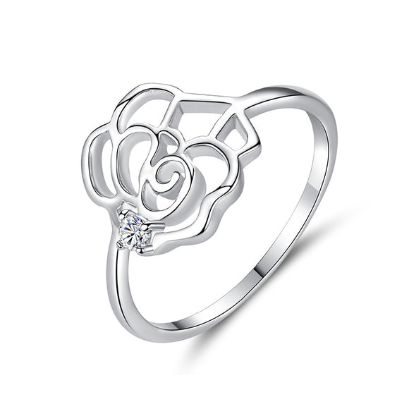 Hollow-out Rose Flower Fashion Ring For Women