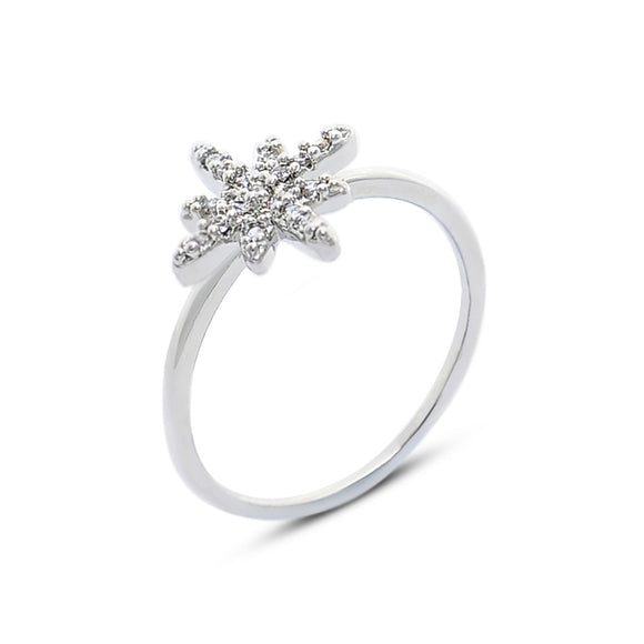 Silver Cubic Zirconia Stone Snowflake Ring For Girl