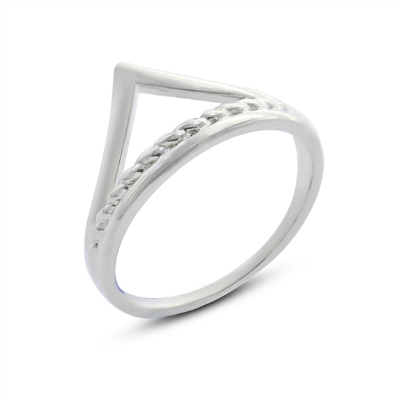 Vintage Triangle Silver Cocktail Ring For Unisex