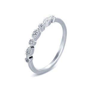 7 Cubic Zirconia Stone  Stack Fashion  Anniversary Rings