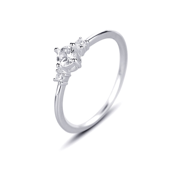 Three Round-cut Cubic Zirconia Silver Classic  Engagement Ring