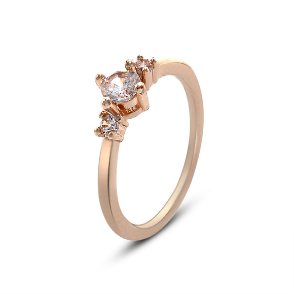 Three Round-cut Cubic Zirconia Rose Gold Classic  Engagement Ring