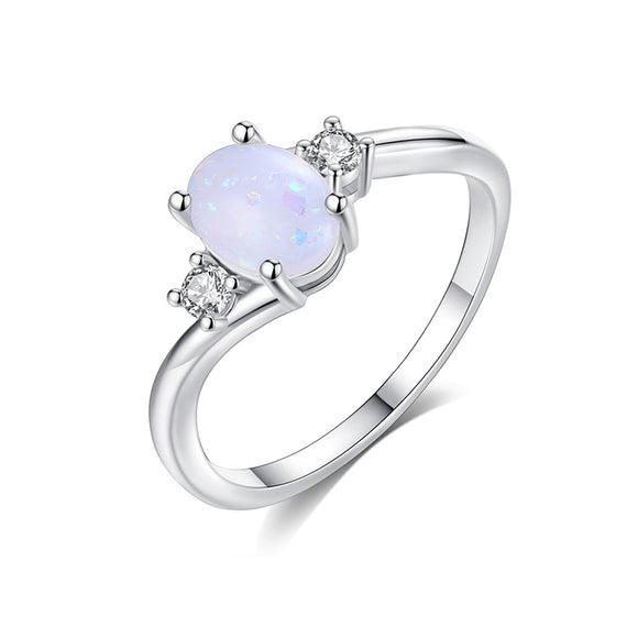 White Opal and Cubic Zirconia Oval Fashion Ring