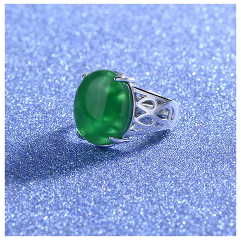 Oval Green Agate Ring - TSZjewelry