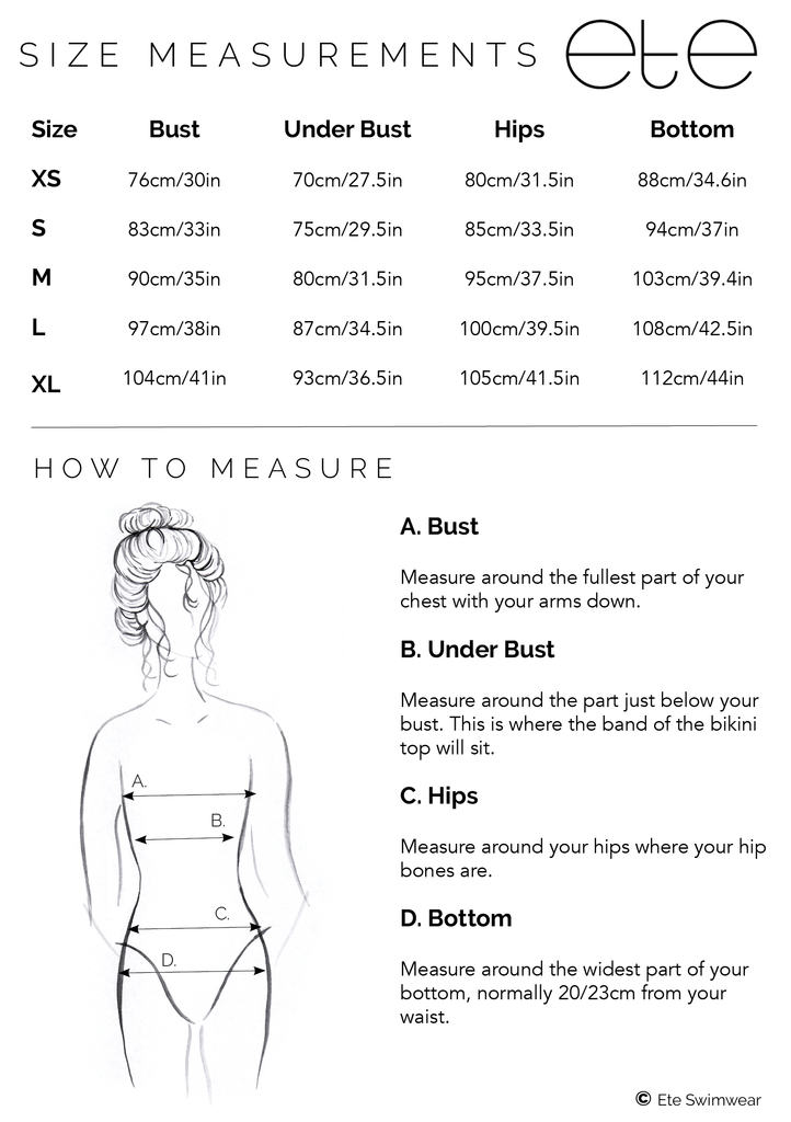 ETE SWIMWEAR SIZE GUIDE