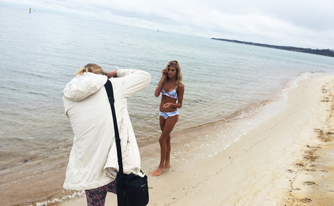 Ete Swimwear launch photoshoot behind the scenes with photographer