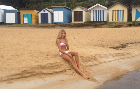 Talia behind the scenes at Ete Swimwear launch photo shoot