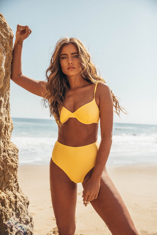 Amalfi Bikini Top - Lemon Drop Yellow