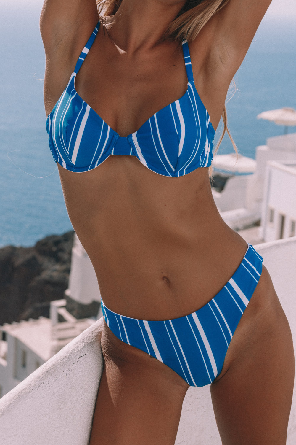 Elena Cheeky Bikini Bottoms - Navy Stripes