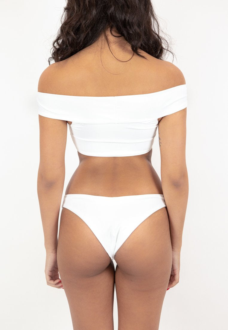 Oia Off-Shoulder Bikini Top - White