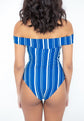 Santorini Off-Shoulder Swimsuit - Navy Stripes
