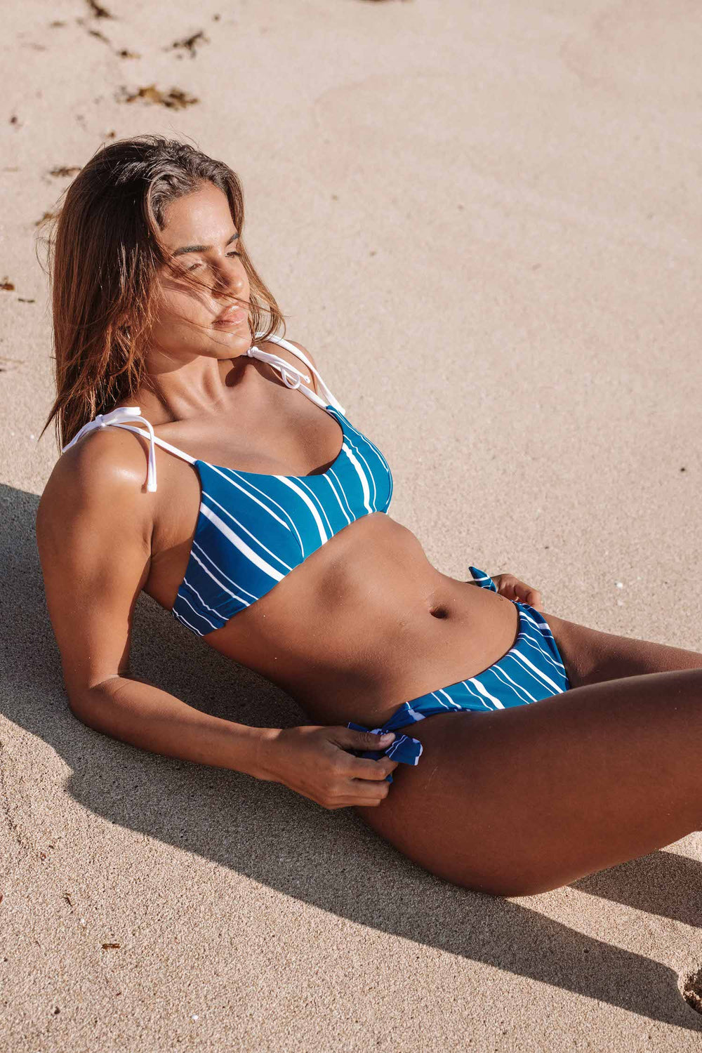 Mia Bikini Top - Navy Stripes