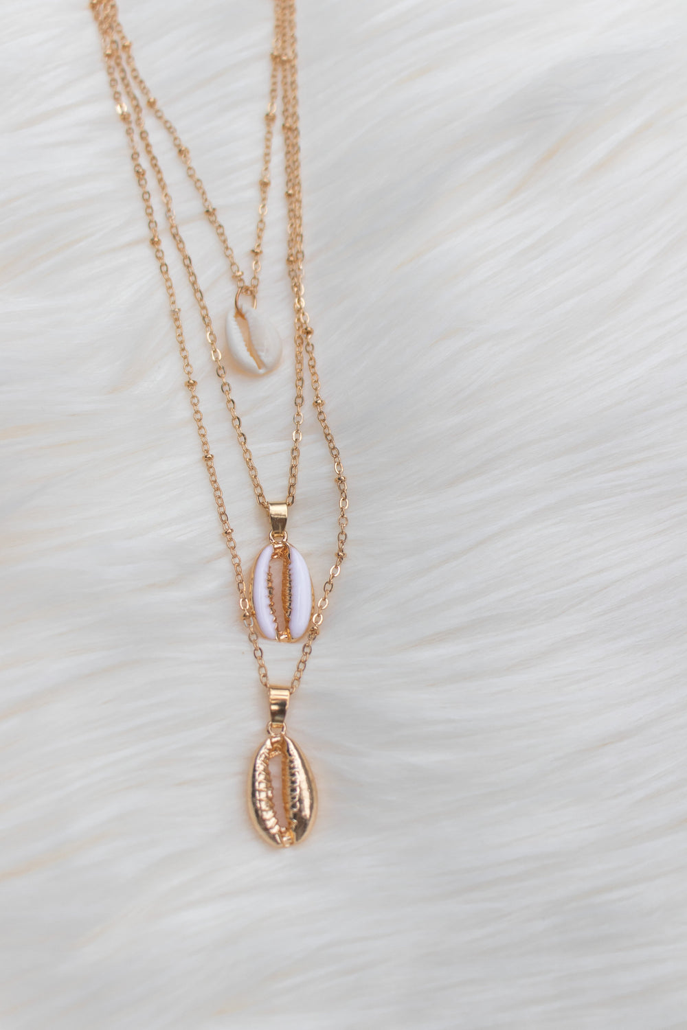 Cowrie Shell 3-Layered Necklace