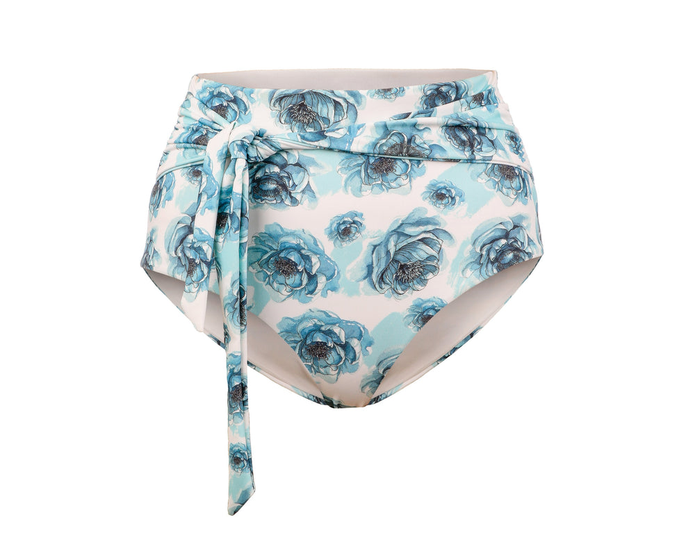 Beau High-Waist Bottoms - Blue Floral