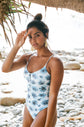 Hali one-piece swimsuit - Blue Floral