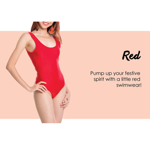 pump up your festive spirit with a little red swimwear