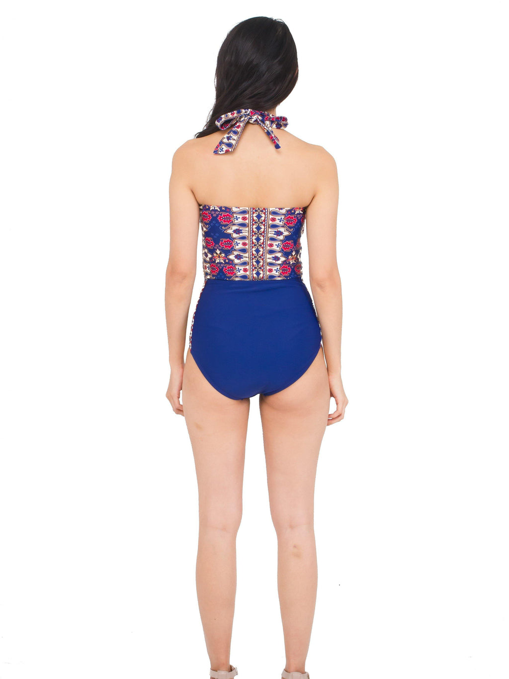 SIGNATURE BATIK Bayu Halter Cut-Out Swimsuit Nila Blue - pink-n-proper