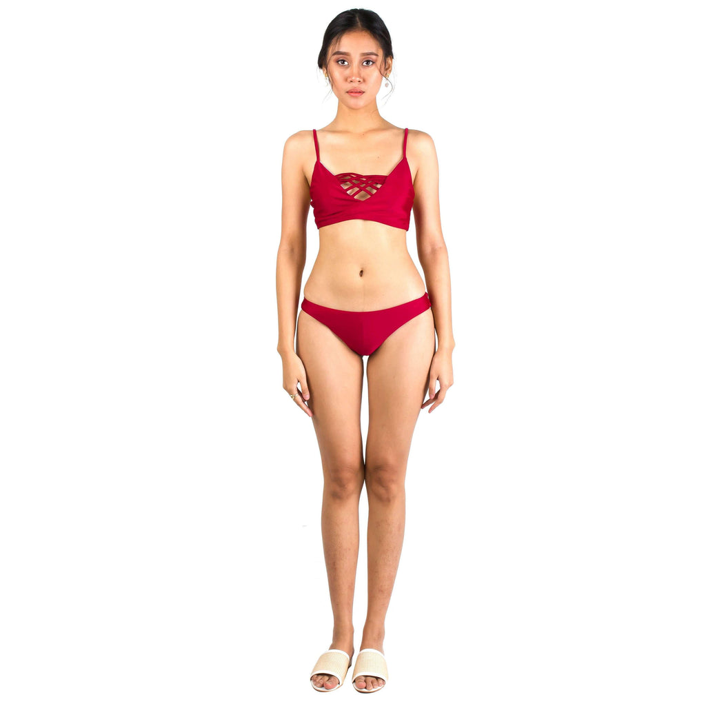 Pink N' Proper:Basic Triangle Criss Cross Bikini Set in Wine Red