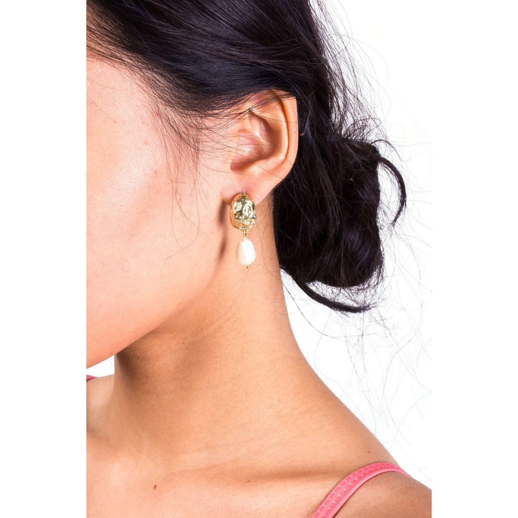 Pink N' Proper:Gold Pearl Goober Earrings