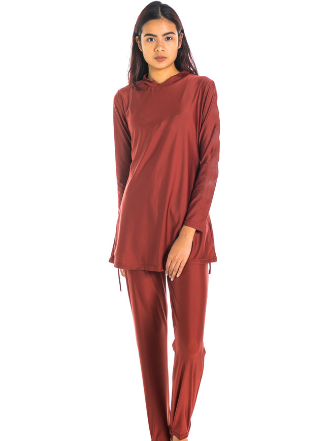 Modernly Modest Saloma Swimwear Set Burgundy - pink-n-proper