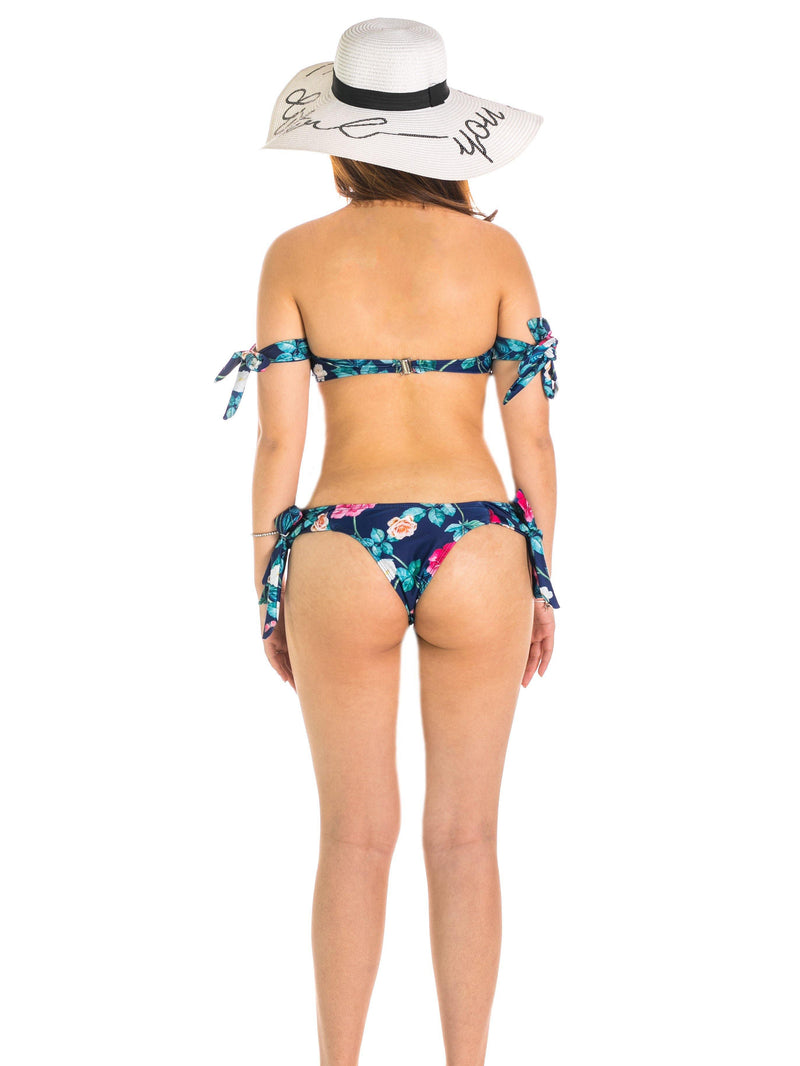 Helena Tropical Off-Shoulder Bikini Set Navy Blue - pink-n-proper