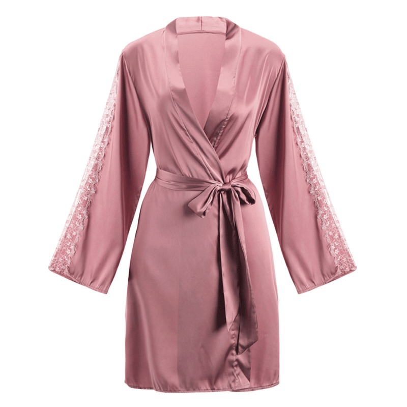 Pink N' Proper:Alexis Wedding Lounging Long Sleeved Satin Robe
