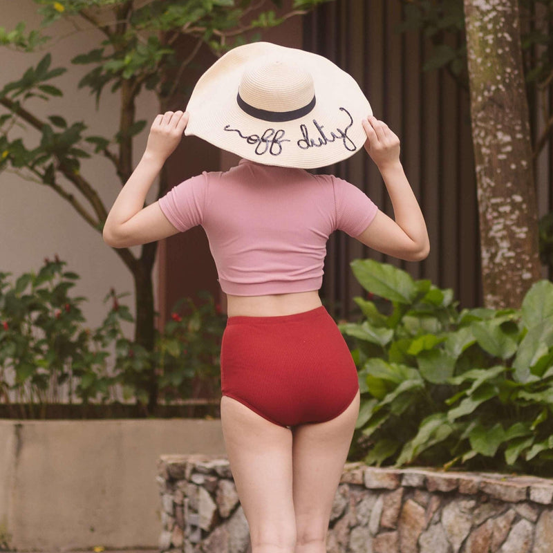 Pink N' Proper:Areum Crop Top Underwire High-Waist Bikini Set in Pink Red
