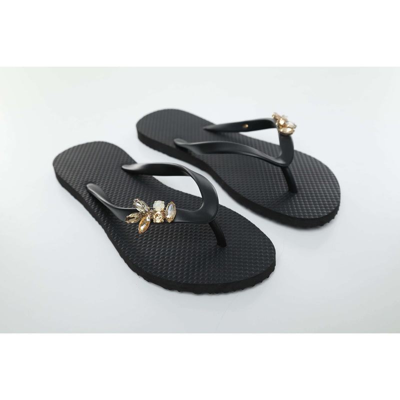 Pink N' Proper:Baia Baia Black Abstract Form Flip-Flops in Black