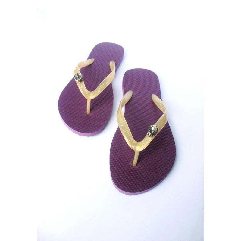 Pink N' Proper:Baia Baia Patrician Purple Tear Drop Shaped Stone Flip-Flops