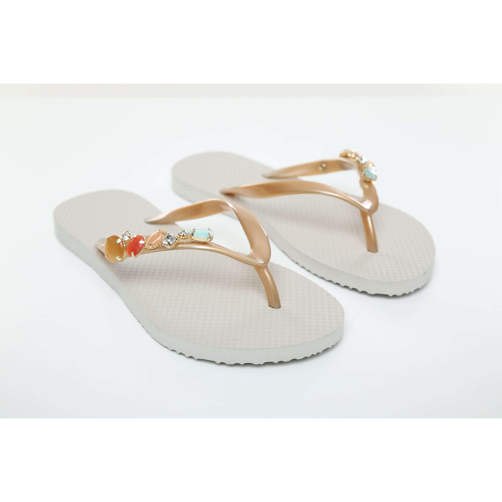 Pink N' Proper:Baia Baia Taupe Sum of Stones Flip-Flops in Taupe