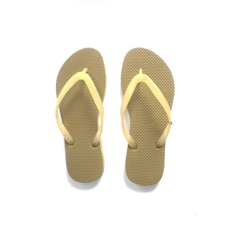 Pink N' Proper:BASIC Baia Baia Gold Flip-Flops with Gold Glitter Straps