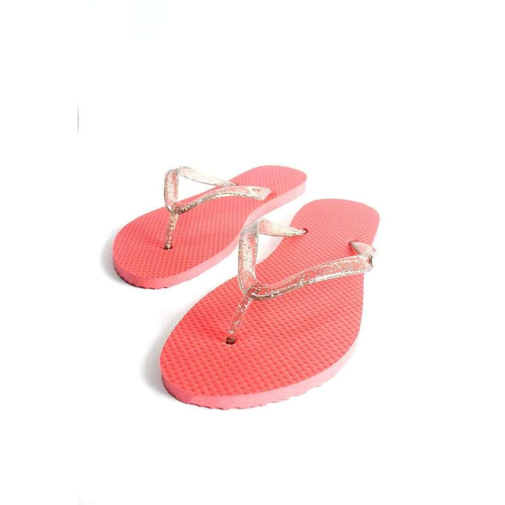 Pink N' Proper:BASIC Baia Baia Hot Red Flip-Flops with Cloud Grey Glitter Straps