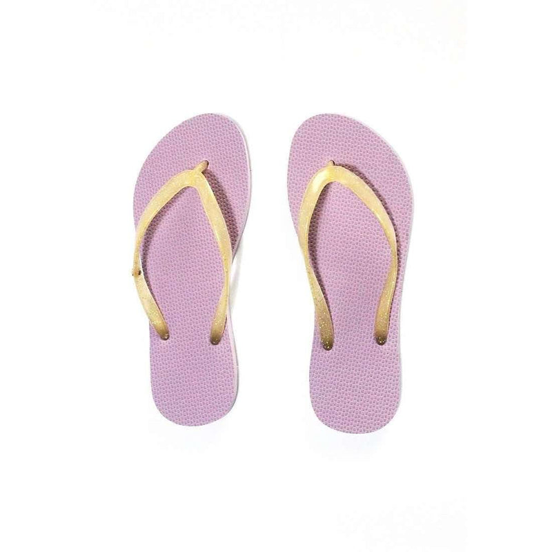 Pink N' Proper:BASIC Baia Baia Lilac Flip-Flops with Gold Glitter Straps