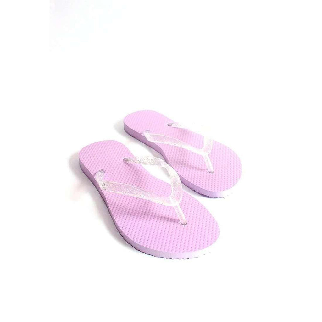 Pink N' Proper:BASIC Baia Baia Lilac Flip-Flops with Transparent Glitter Straps